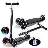 Nclon Bambini Monopattino 3 Ruote Ruote incandescenti,Scooter Acrobazia Ruota flash Scooter per bambini Tra 3-9 anni Capacità massima 90kg-nero