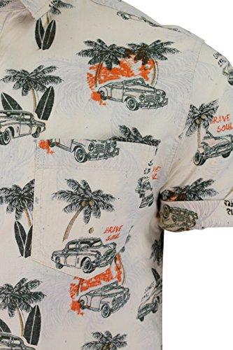 Uomo Brave Soul Maglietta Kapua Motivo Hawaiano Con Colletto Top Ecru