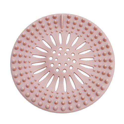 ODN Silikon Haar Sieb Waschtisch Badewanne Dusche Haare Abflusssieb (Rosa)