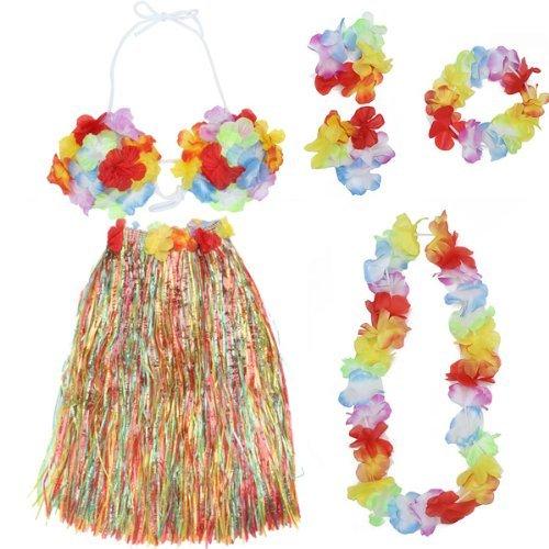SODIAL(R) Bunt Hawaiian Tropisch Hula Luau Grass Tanzen Rock und (Kostüme Hula Hula)