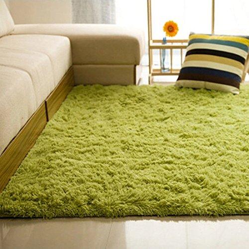 Antideslizante Salón Suave Alfombras Shaggy Floor Mat Área Alfombra 80 x 120 cm (Verde hierba)