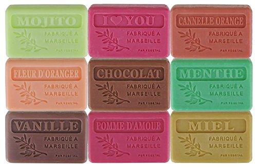 Lot de 9 savons de Marseille aux parfums gourmands