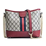 XIAOXINYUAN Frauen Umhängetasche Vintage Druck Damen Einfache Freizeit Kette Handtasche Große Kapazität Messenger Eimer Tasche Rot