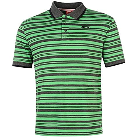 Slazenger Mens Interlock Yarn Dye Polo Shirt Short Sleeve Collar Neck Top Charc Marl 2 L