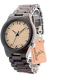 DFGVFDSGV Msb - Reloj de Cuarzo con Todos los Relojes de Madera/Ebano Natural de