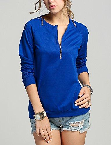 Damen Sweatshirt Elegant Mit Reißverschluss V-Ausschnitt Langarmshirt Bluse Oberteil Blau