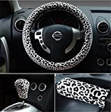 3pcs 38 cm leopardo auto Universal car Steering Wheel Covers + freno a mano copertura + auto automatico Covers 37,6 cm