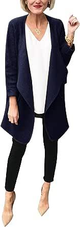 WOZNLOYE Donna Cardigan a Maniche Lunghe Giacche Risvolto Cappotti Top Autunno Inverno Coat di Colore Solido