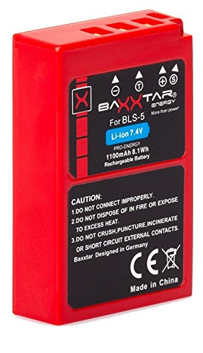 Baxxtar Pro Compatible avec Batterie Olympus BLS-50 BLS-5 (1100mAh) Intelligent Battery (Chip) pour Olympus Pen E-PL6 E-PL7 E-PL8 E-PL9 E-PL10 E-PM1 E-PM2 - OMD E-M10 Mark II III Stylus 1 1s