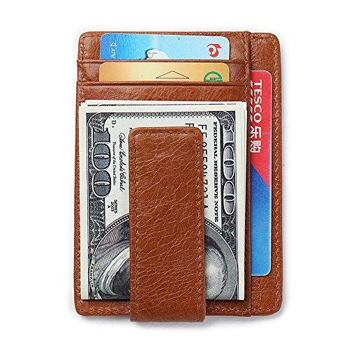 Geldklammer und Kreditkartenetui aus LEDER, Portmonee Herren|Geldbeutel mit Geldscheinklammer | Portemonnaie mit RFID-Blocker | Brieftasche, Geldbörse mit Geldspange, von GUBINTU (Braun) Braun