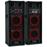 Altavoces Skytec SPB-28 - activo-pasivo, 800W, 2x20cm Woofer (2x altavoz bassreflex con doble subwoofer, entrada USB SD reproductor MP3, 2 entradas micrófono, carcasa resistente)
