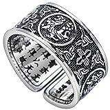 Bishilin Männer Ringe Silber 925 Orientalische Gottes Tier Partnerring Herren Ring Silber Schwarz Größe 63 (20.1)