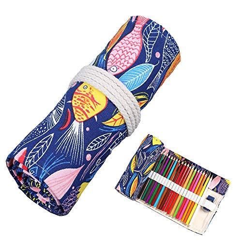 Lezed Stifterolle 36 Löcher Leinwand Pencil Wrap Bleistifte Rolle Faltbare Rollentasche Mäppchen für Buntstifte und Bleistifte Bunter Fisch (Anmerkung: ohne Farbstifte)