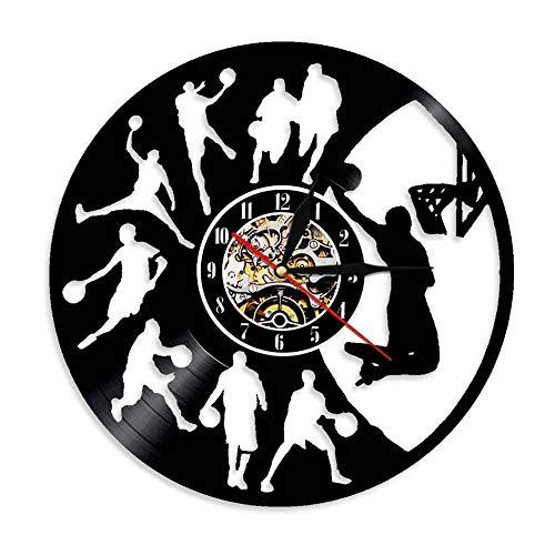 1 Stück Basketball Vinyl Disc, Sport Wanduhr Wohnkultur Moderne Wandkunst Basketball Ausrüstung Dekoratives Licht Led Lp Uhr ()