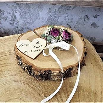 Ringkissen Ringhalter Holzscheibe Mille Fleurs mit Namen zur Hochzeit