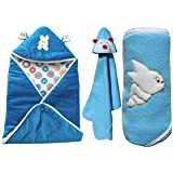 MY NEWBORN Baby Blankets Cum Wrapper Super Combo Gift Pack Of Hooded Baby Blanket Wrap- Set Of 3 Pcs. (Blue)