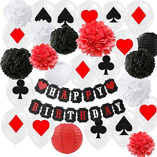 HappyField Zubehör für Poker-Themenpartys Dekorationszubehör für Casino-Partys Casino-Themenpartys, Themenpartys in Las Vegas, Casino-Nacht, Poker-Events, Dekoration für Casino-Geburtstage