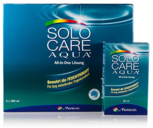 Solocare Aqua 4x360ml inkl. Reise-Set (90ml) – Kontaktlinsenflüssigkeit für Weiche Kontaktlinsen – Kombilösung für das Reinigen, Desinfizieren und Aufbewahren der Linse (All-In-One Lösung)