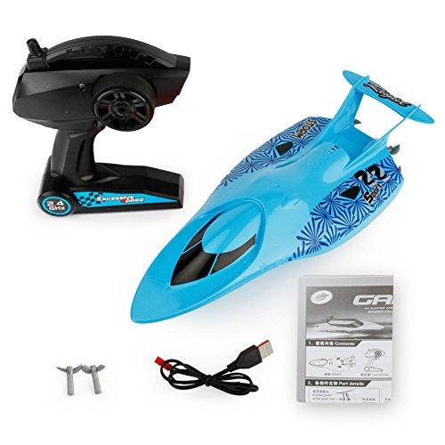 Eleganantstunning Ferngesteuertes Speedboot 2,4 G Modell, elektrisches Spielzeug, wasserdicht, Mini RC Rennboot Halloween Taschen für Kinder blau