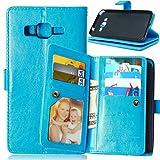 Handy schützen, Luxus-PU-Leder Flip-Cover 9 Kartenhalter-Mappenkasten für Samsung-Galaxie J1 / J5 / Kern Prime/Grand Prime für Samsung (Farbe : Blau, Kompatible Modellen : Galaxy Core Prime)