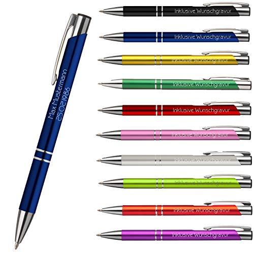 Premium Qualität - Personalisierter Kugelschreiber mit Gravur | Stift mit Name Einzeilig oder Zweizeilig aus Edlem Metall- und Kunststoffmix (Blau) (Geschenk Personalisierte Kugelschreiber)