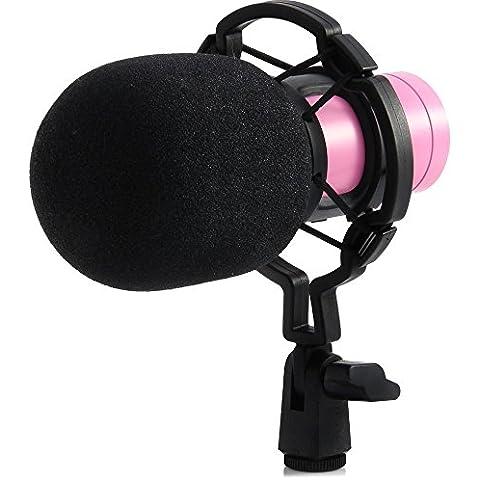 La Nueva Versión BM - 800 Juego profesional de micrófono para estudio de transmisión y grabación. Incluye un (1) micrófono profesional de condensador NW-800 + una (1) montura antivibratoria + una (1) cubierta de espuma antiviento tipo bola + un (1) cable de alimentación (Rosa)
