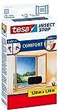 tesa Fliegengitter Comfort für Fenster - beste tesa Qualität - anthrazit, durchsichtig (5er Spar-Pack, 1.30 m x 1.30 m)