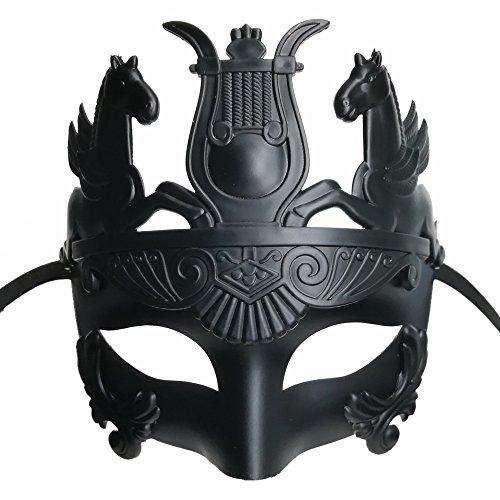 CCUFO Schwarze männliche griechische & römische Soldaten Männer venezianische metallische Maske für Maskerade / Party / Ball Prom / Karneval / Hochzeit / Wanddekoration (Gummiband) (Mann Schwarzer Halloween-maske)