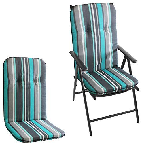 2 Stück Polsterauflage für Hochlehner, 115x50cm, 5cm dick, Türkis/Grau gestreift - Gartenstuhlauflage Stuhlauflage Sitzauflage Sitzpolsterauflage