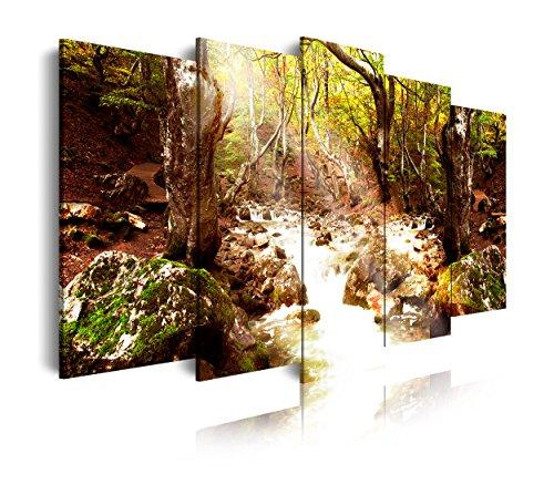 DEKOARTE 283 - Cuadro moderno en lienzo 5 piezas XXL paisaje bosque con río, 200x3x100cm