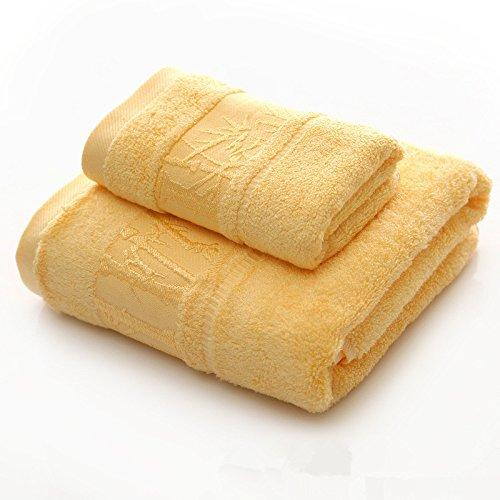 DANCICI Handtuch Handtuch Set Baumwolle Badetuch Bambus Faser saugfähiges Badetuch nach Handtuch Soft 480 g, blau Gelb