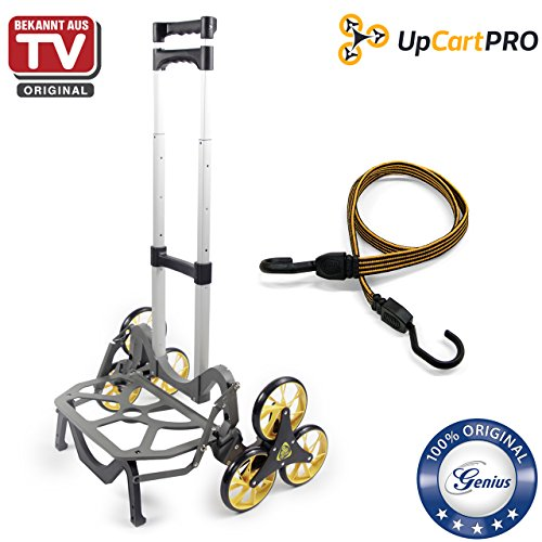 Genius UpCart PRO Aluminium-Treppensteiger inkl. Sicherheitsgurt | Sackkarre | 3-Rad-Mechanismus |klappbar | Tragkraft 45,5 kg | Umzug | Einkauf | Bekannt aus TV | NEU