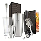 VonShef 8 Piece Stainless Steel Cocktail Set - Boston Cocktail Shaker Kit in Gift Box with Accessories Including Glass, Jigger, Strainer, Spoon, Muddler, Pourer, Recipe Guide
