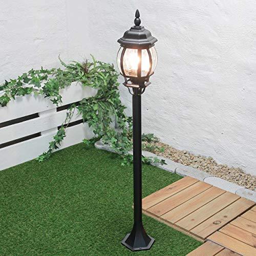 Lampe d'extérieur'Brest' en noir/ E27 jusqu' IP43 Lampe d'extérieur sur pied sur pied pour éclairage de jardin