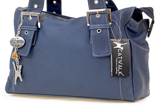 H Jane 33 cm Catwalk von T 20 Collection Ledertasche B GRÖßE Marine Blau 12 6Cwpfqnnx