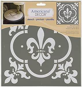 None Extra Large, Deco Art Americana Decor Stencil x 12-inch-Fleur De Lis Tile