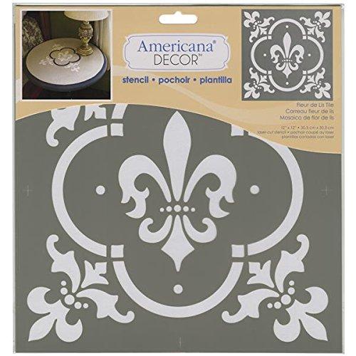 Deco Art Kunststoff Americana Schablone 12Zoll x 12-inch-Fleur de Lis Tile