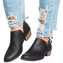 Botines Mujer Tacon Medio Planos Invierno Tacon Ancho Piel Botas Botita Moda 3cm Casual Planas Zapatos Ankle Boots Caqui Rosa Beige Negros 35-43 BK42