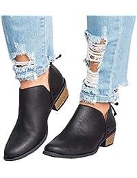 Botines Mujer Tacon Medio Planos Invierno Tacon Ancho Piel Botas Botita Moda 3cm Casual Planas Zapatos Ankle Boots Caqui Rosa Beige Negros 35-43