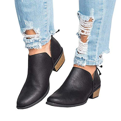 Chelsea Boots Women Ankle Block Heel Leather Winter Flat Low Ladies Lace Casual Heeled Chunky Comfortable 3cm Shoes Beige Pink Black 3-9 UK (35-43 EU)