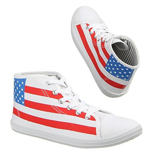 Damen Schuhe, 7-6682, FREIZEITSCHUHE SNEAKERS MIT USA FLAGGE Weiß