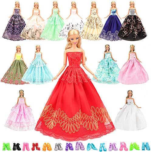 Miunana 15= 5 Abendkleid Hochzeit Fashionistas Prinzessinnen Kleidung Kleider Puppenkleid 10 Paar Schuhe für Barbie Puppen Ostern Geschenk