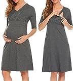 HOTOUCH Damen Umstandskleid Schwangerschaft Kleid Gerafften Stillkleid Diskretes Stillen Stretchkleid