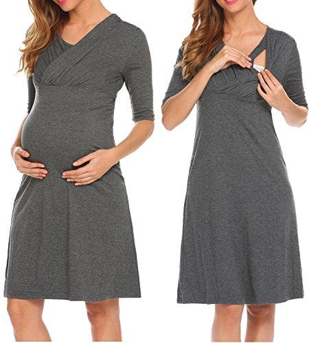 *HOTOUCH Damen Umstandskleid Schwangerschaft Kleid Gerafften Stillkleid Diskretes Stillen Stretchkleid*