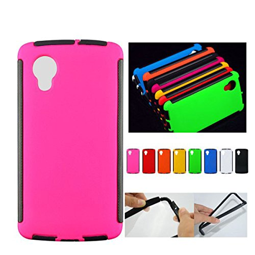 For Google LG Nexus 5 Front + Back 2 in 1 Full Body Touch Screen Protector Hard Case Cover - PINK  available at amazon for Rs.99