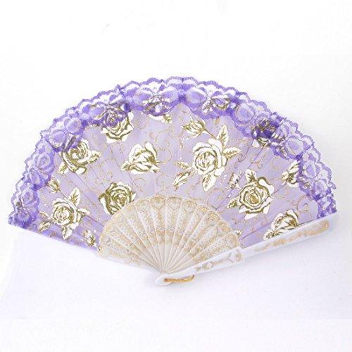 DealMux Kunststoffrahmen Blumen-Dekor-Folding Tanzen Tanz Hand Fan - Tanz-dekor