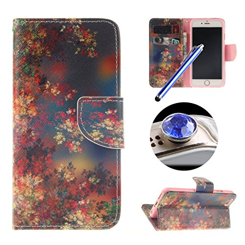 Etsue Schutzhülle iPhone 6S/iPhone 6 Hülle, Leder Flip Case iPhone 6S/iPhone 6, Tasche im Bookstyle für iPhone 6S/iPhone 6, TPU Handy Hülle Leder Tasche Case Flip Cover Case Standfunktion und Karte Ha Colorful Flower