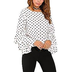 Cinnamou Camisa de Lunares Suelta de Las Señoras de La Manga de La Campana de Las Mujeres de La Moda Tops Casuales de La Blusa Abrigo Manga Larga Pullover (Blanco, S)