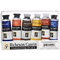 Jack Richeson Casein The Shiva Series Underpainting with 37ml Tubes, Set of 6
