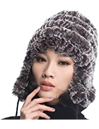 URSFUR Chapeau Bobble Beanie Femme Bonnet Béret Tendance Tricot Fourrure  Lapin Fille à Cache Oreille Hiver d0524b536b4